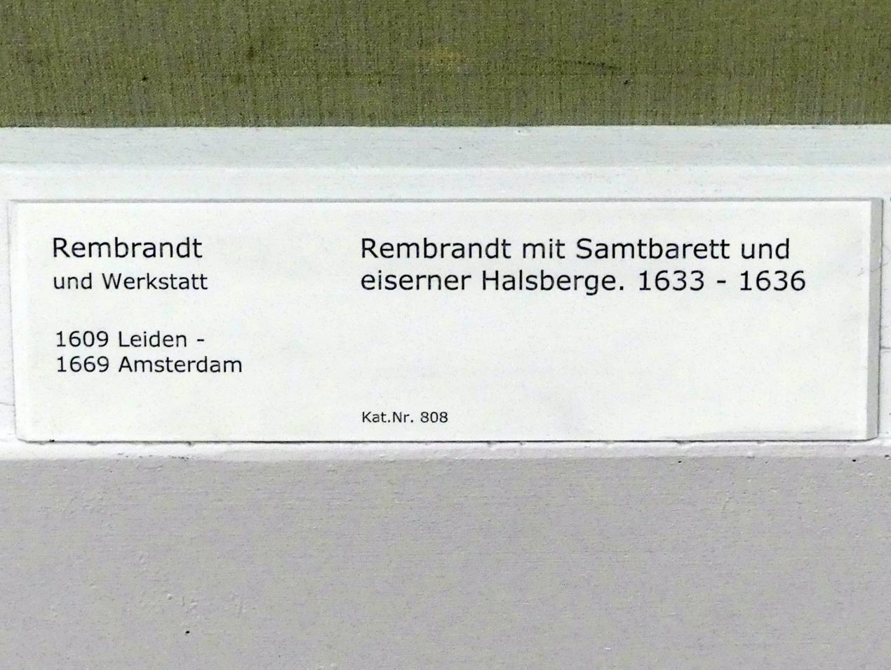 Rembrandt (Rembrandt Harmenszoon van Rijn): Rembrandt mit Samtbarett und eiserner Halsberge, 1633 - 1636, Bild 2/2