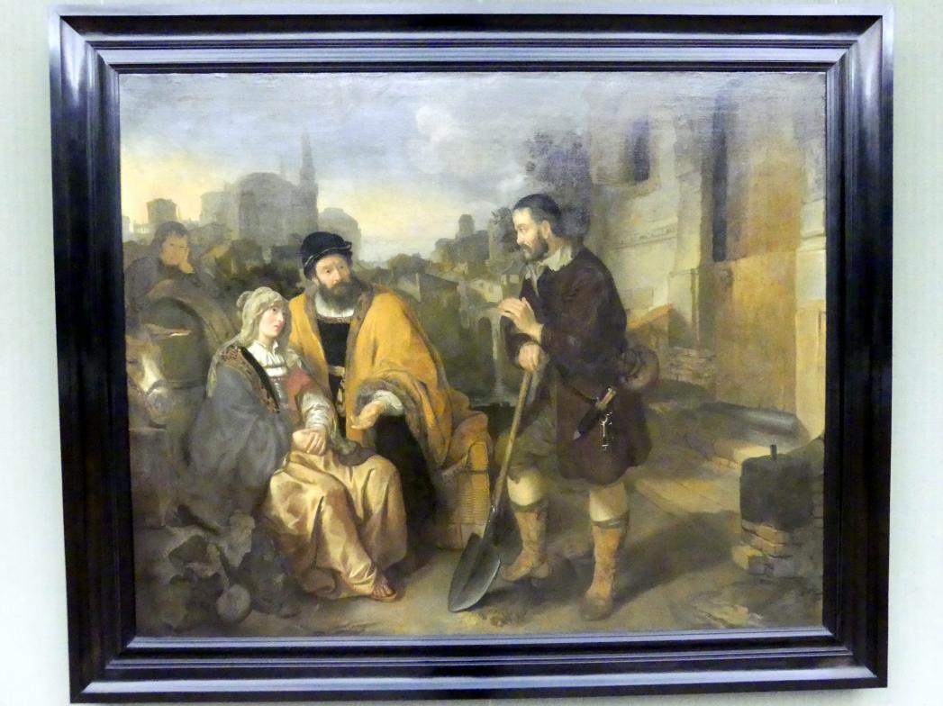 Gerbrand van den Eeckhout: Der Feldarbeiter von Gibea bietet dem Levit und seinem Kebsweib Unterkunft, 1645