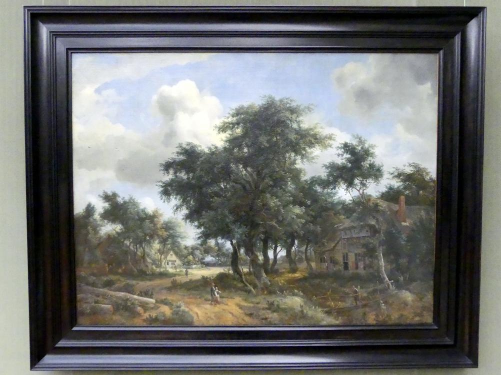 Meindert Hobbema: Dorfstraße unter Bäumen, Um 1663