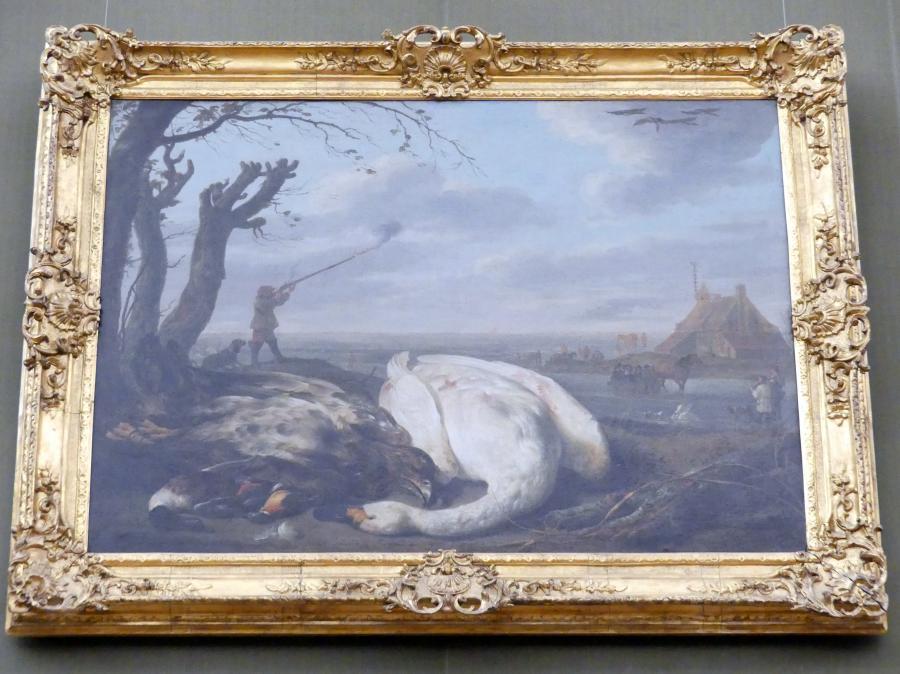 Aelbert Cuyp: Winterlandschaft mit toten Vögeln und Jägern, um 1655 - 1660