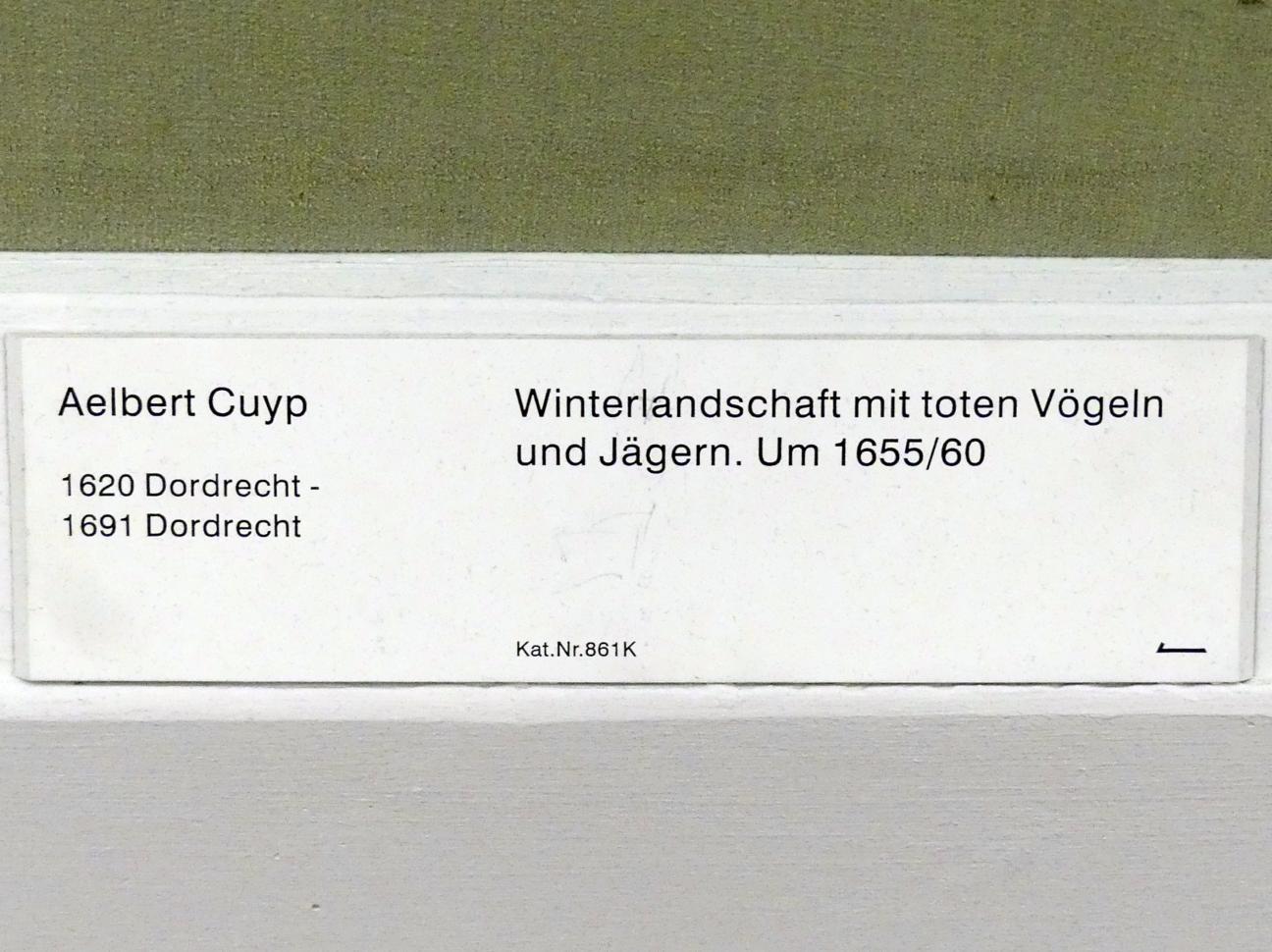 Aelbert Cuyp: Winterlandschaft mit toten Vögeln und Jägern, um 1655 - 1660, Bild 2/2