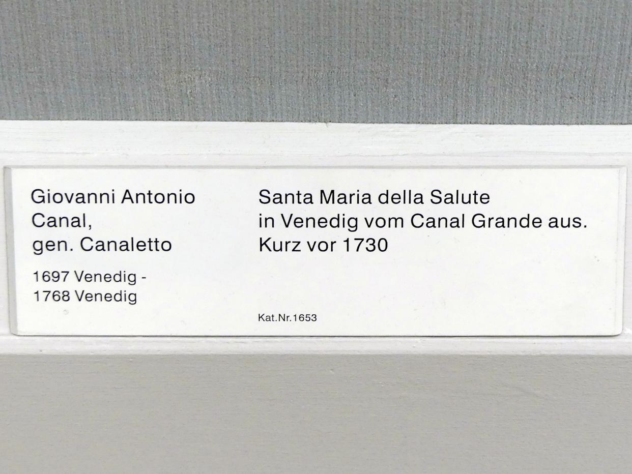 "Giovanni Antonio Canal (""Canaletto""): Santa Maria della Salute in Venedig vom Canal Grande aus, Vor 1730"