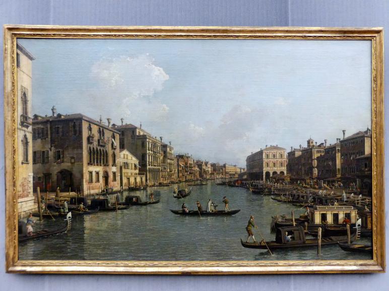 """Giovanni Antonio Canal (""""Canaletto""""): Der Canal Grande mit Blick in südöstlicher Richtung auf die Rialtobrücke, Um 1758 - 1763"""