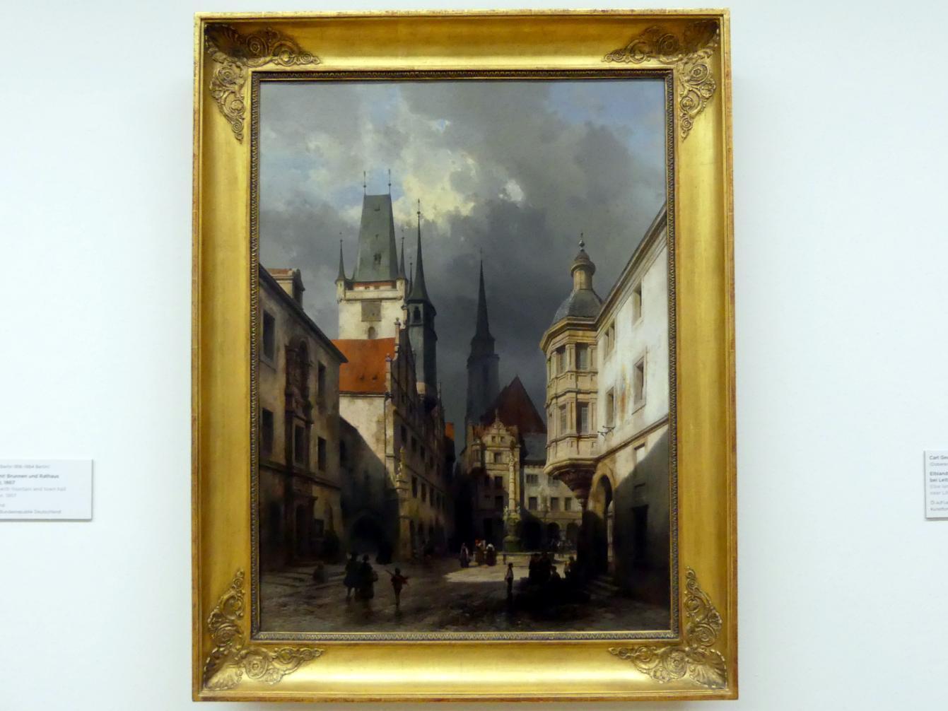 Carl Graeb: Stadtplatz mit Brunnen und Rathaus, 1867