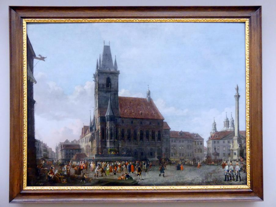 Ludwig Kohl: Prag, Ansicht des Altstädter Rings mit Mariensäule, um 1810