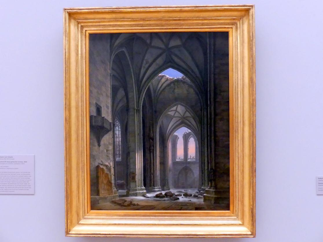 Johann Karl Schultz: Querschiff eines gotischen Domes, 1850