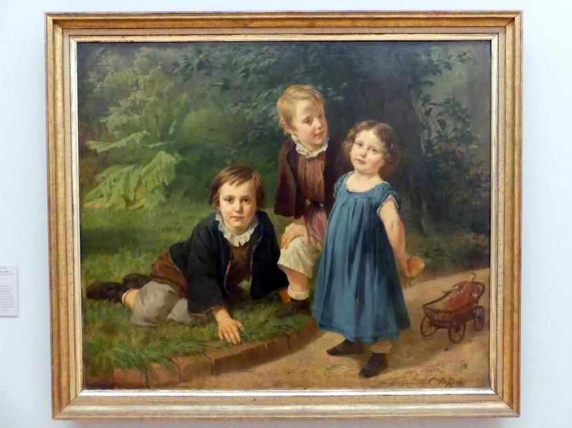 Carl Steffeck: Drei Kinder des Künstlers im Garten, 1865