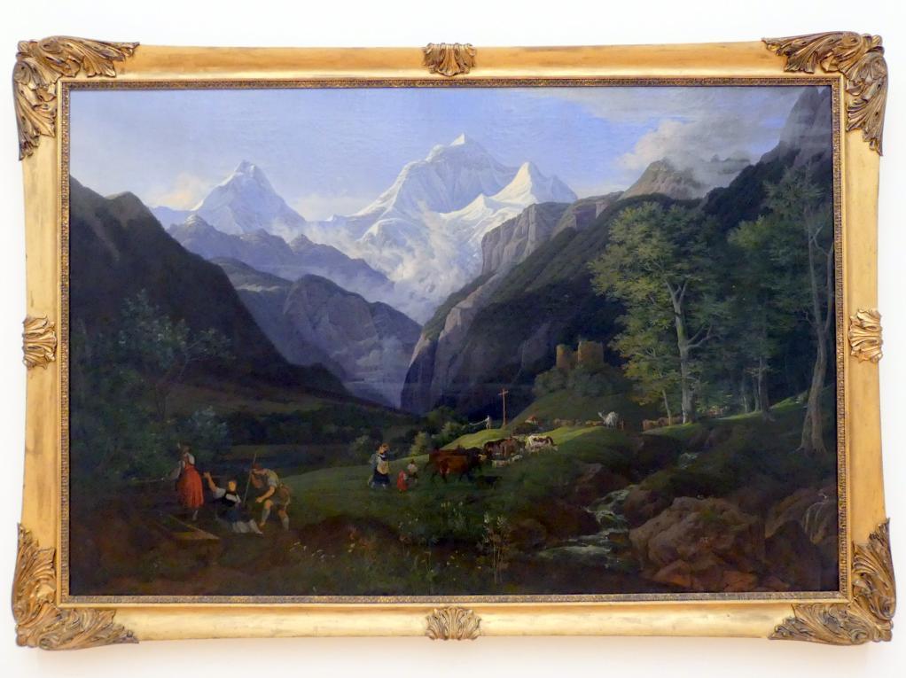Ludwig Richter: Frühlingsmorgen im Lauterbrunner Tal (Auszug der Sennen), 1827