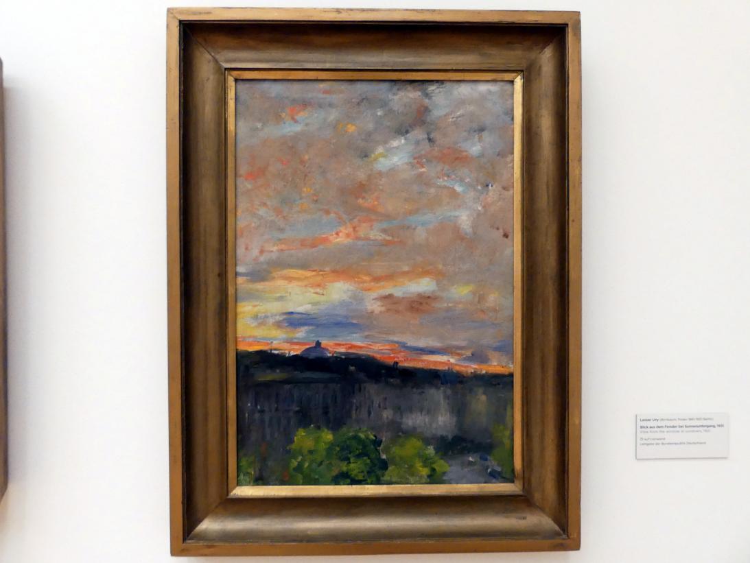 Lesser Ury: Blick aus dem Fenster bei Sonnenuntergang, 1931