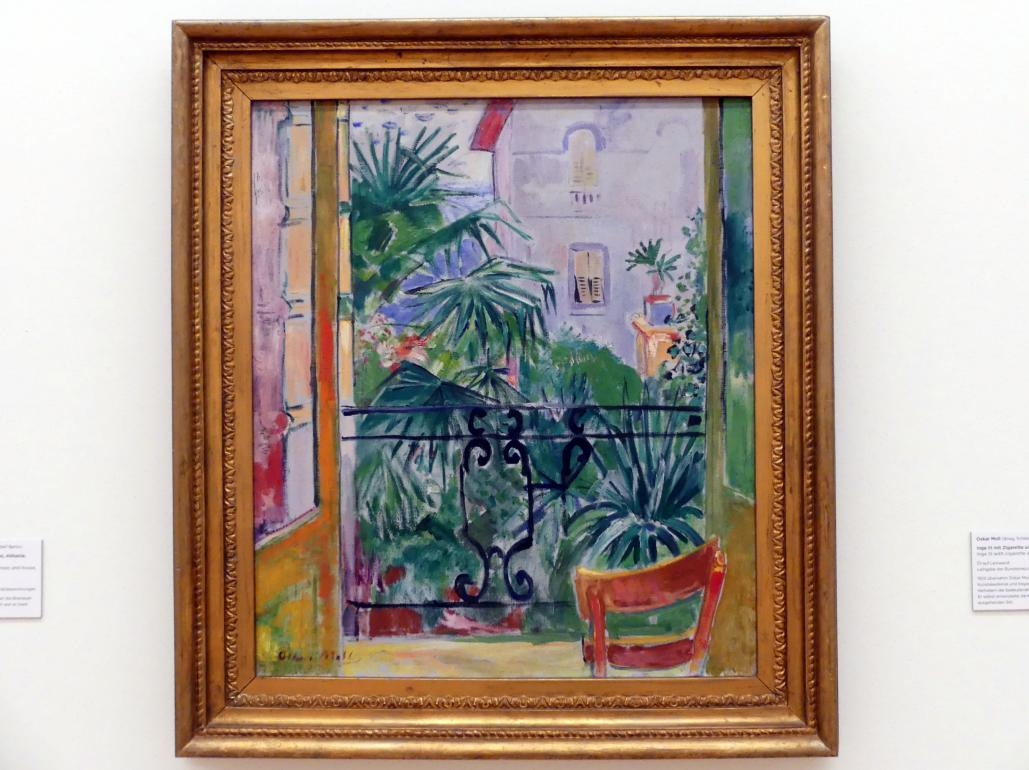 Oskar Moll: Balkonblick auf Palmen und Haus, Abbazia, Um 1923