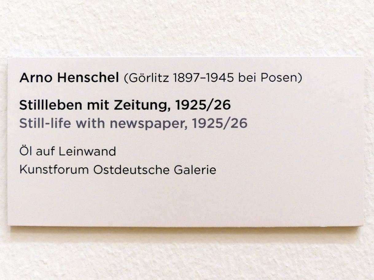 Arno Henschel: Stillleben mit Zeitung, 1925 - 1926