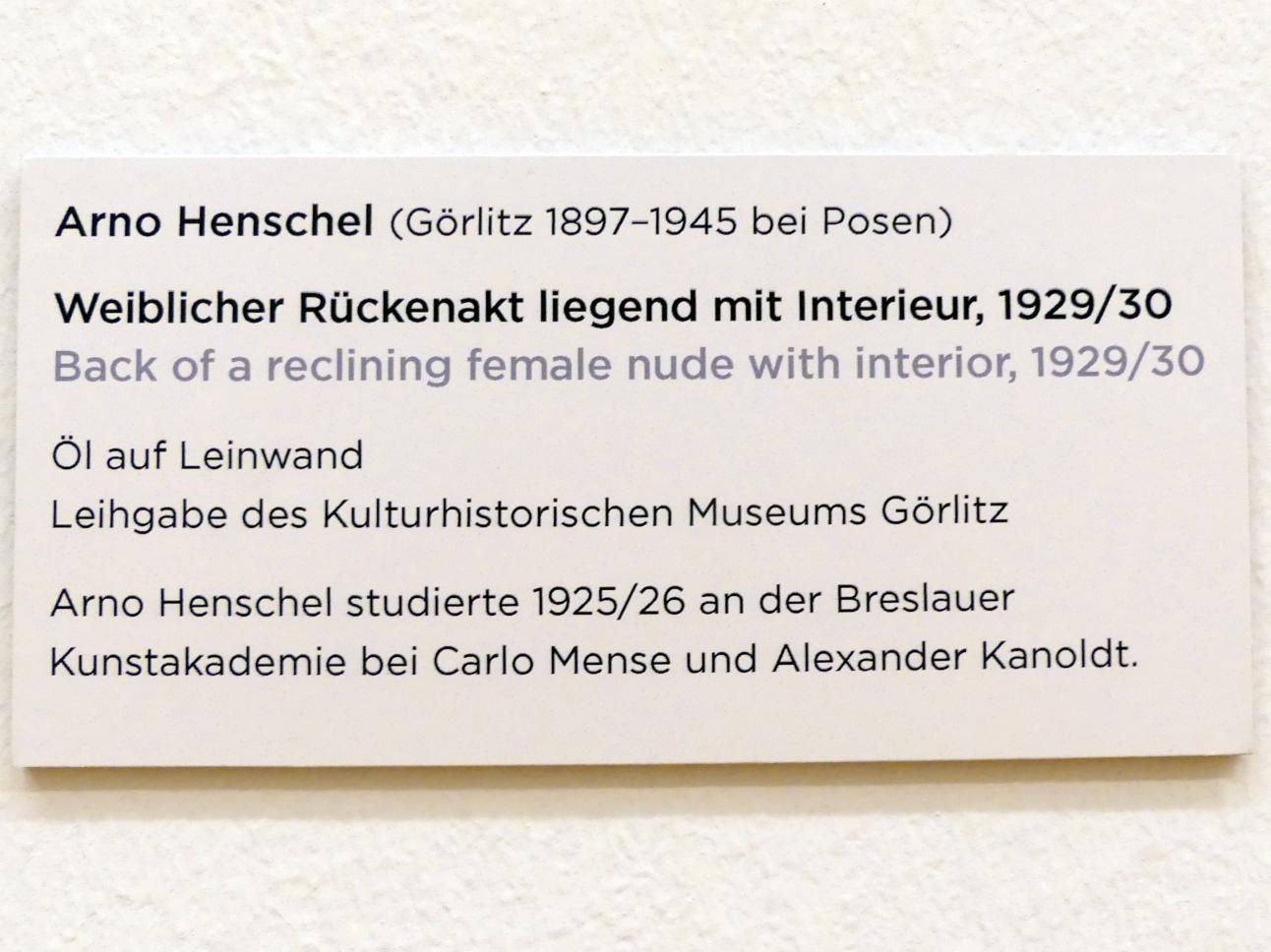 Arno Henschel: Weiblicher Rückenakt liegend mit Interieur, 1929 - 1930