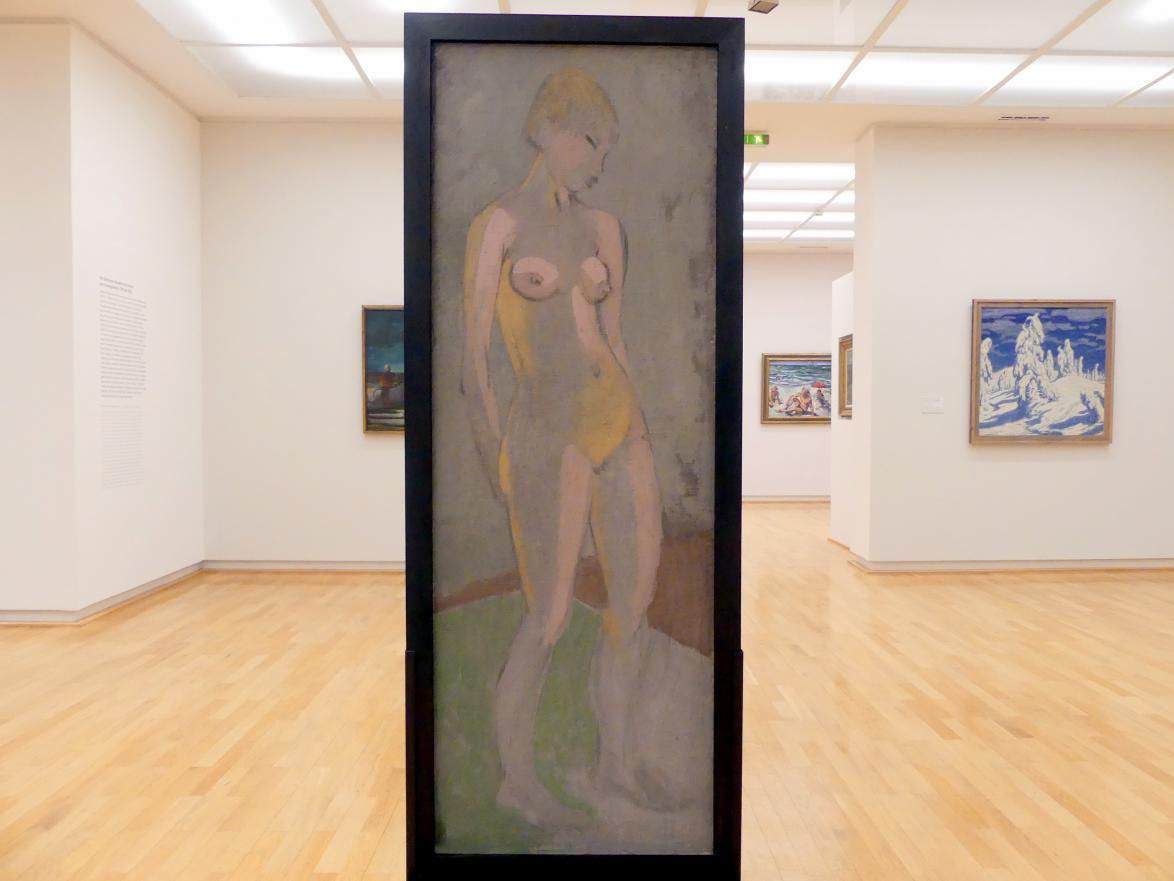 Otto Mueller: Stehender weiblicher Akt mit blondem Haar; Gelber Akt, Um 1928