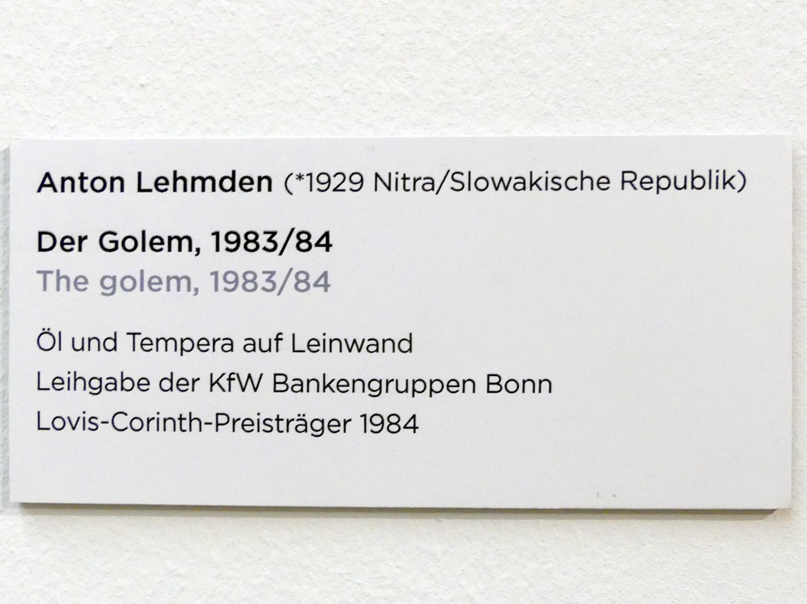Anton Lehmden: Der Golem, 1983 - 1984, Bild 2/2