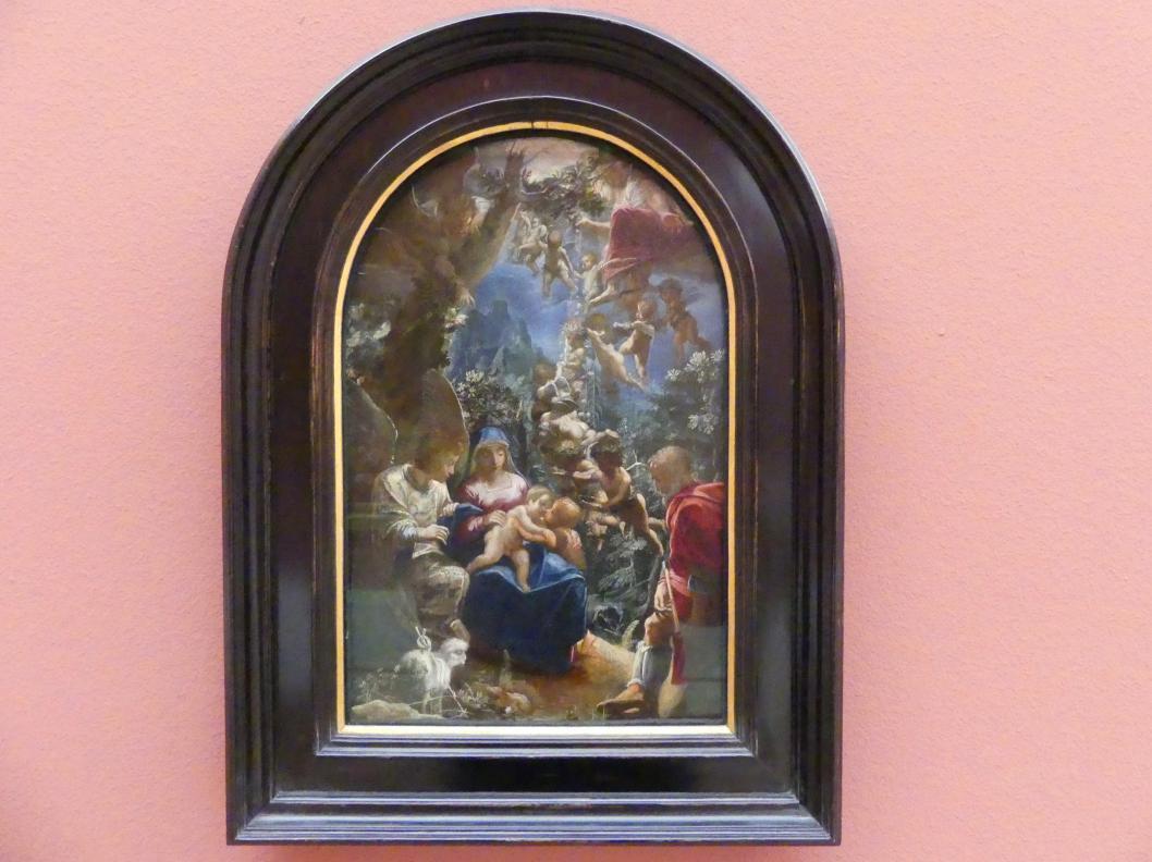 Adam Elsheimer: Die Heilige Familie mit dem Johannesknaben und den Engeln, Um 1599