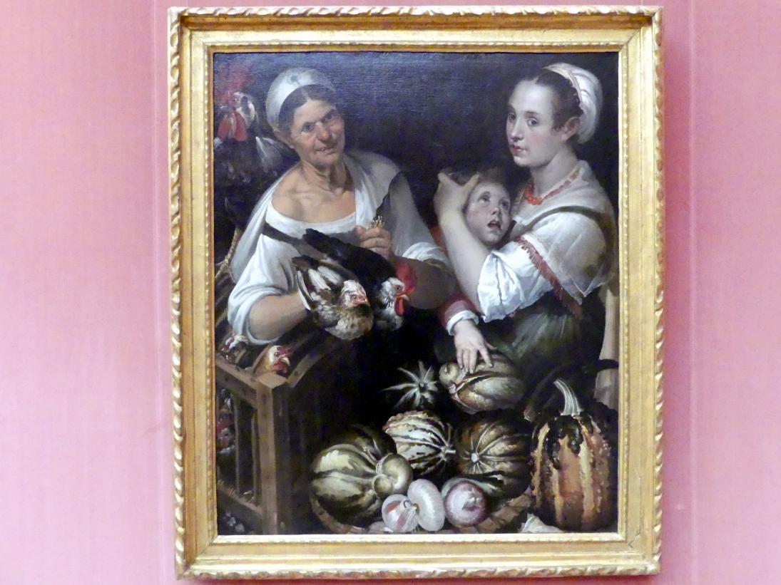 Bartolomeo Passarotti: Zwei Marktfrauen und ein Junge mit Geflügel und Gemüse, um 1580