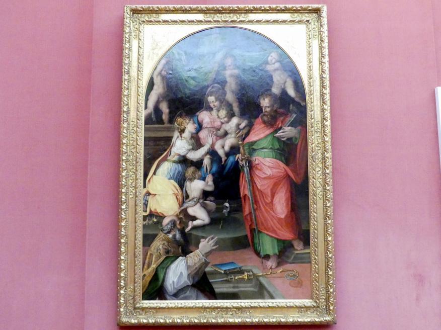 Prospero Fontana: Thronende Madonna mit den hll. Katharina von Alexandrien, Paulus, Augustinus und dem Johannesknaben, 1540