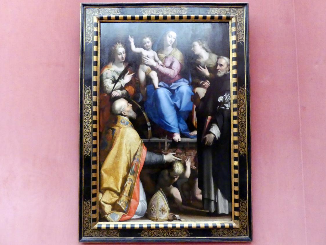 Lorenzo Sabatini: Thronende Maria mit dem segnenden Kind und den hll. Petronius, Katharina von Alexandrien, Dominikus und Apollonia, um 1570 - 1573