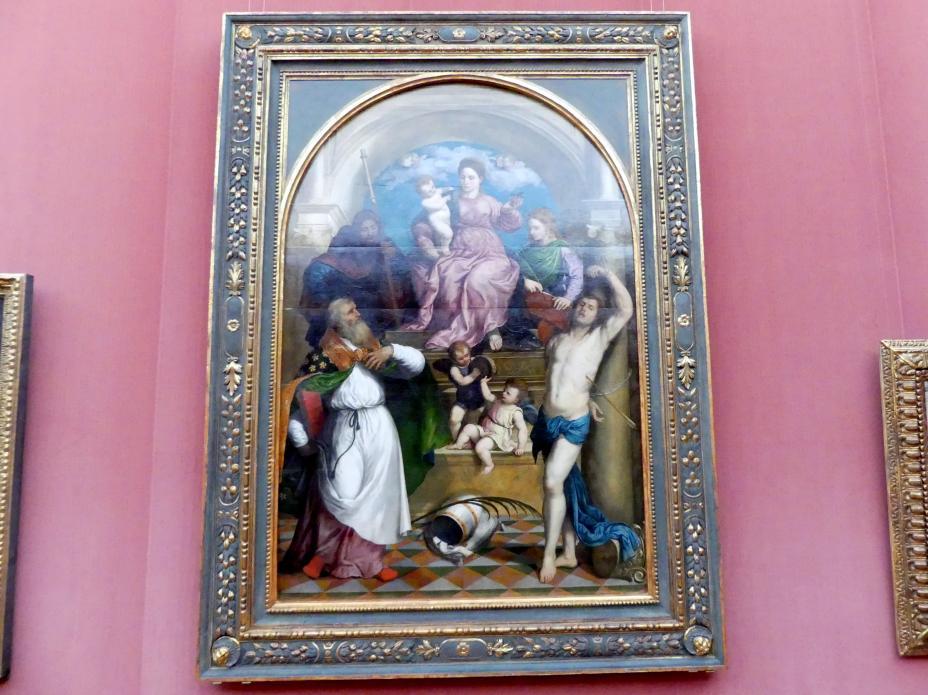 Paris Bordone: Thronende Maria mit dem Kind und den hll. Fabianus, Rochus, Sebastian und Katharina von Alexandrien, Um 1530