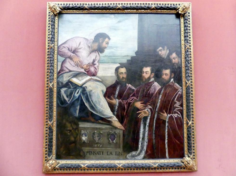 Tintoretto (Jacopo Robusti): Die drei venezianischen Stadtkämmerer, Marco da Molin, Carlo Cornaro und Nicolò Zane, vor dem hl. Markus, 1571