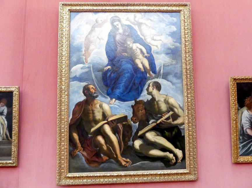 Jacopo Robusti (Tintoretto): Maria mit dem Kind, von den Evangelisten Markus und Lukas verehrt, Um 1570 - 1575