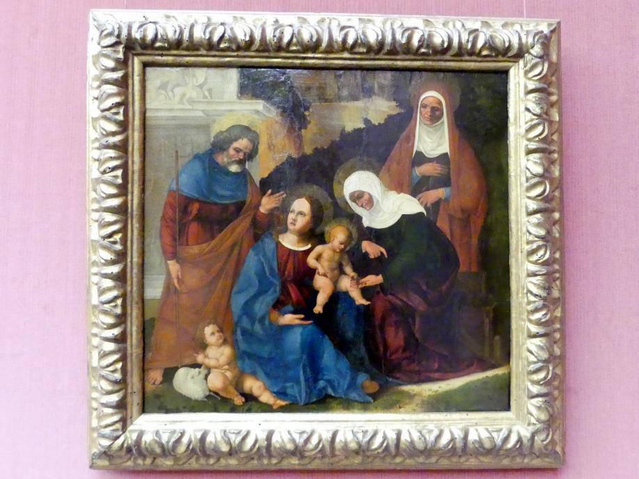 Ludovico Mazzolino: Die Heilige Familie mit Elisabeth, Anna und dem Johannesknaben, um 1509