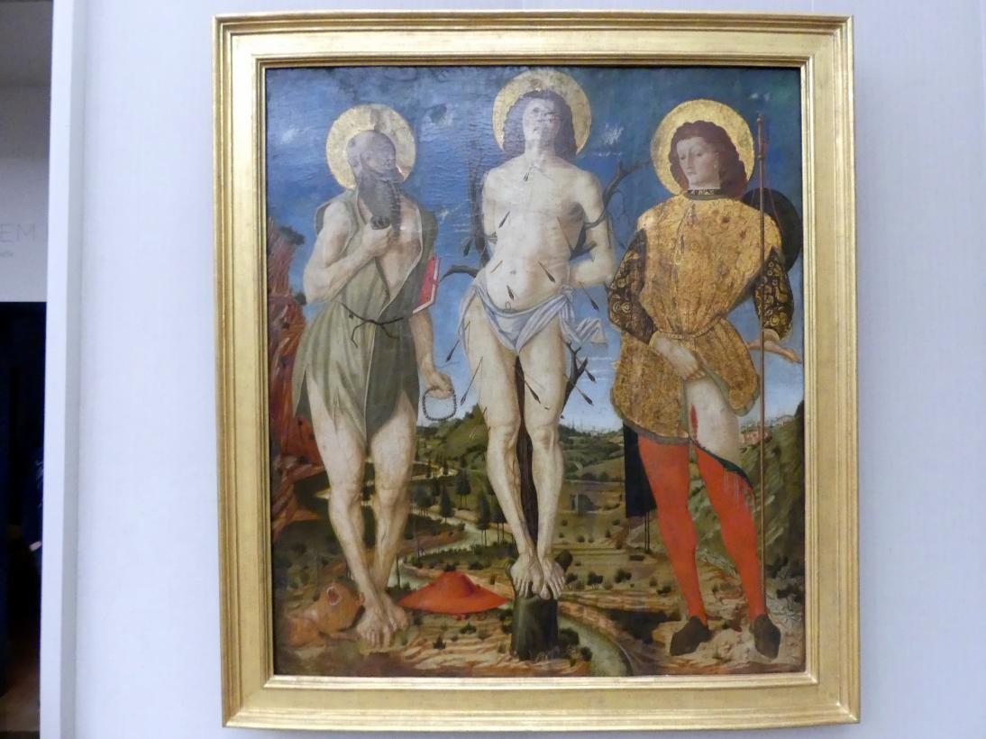 Nicola di Maestro Antonio d'Ancona: Die hll. Hieronymus, Sebastian und Rochus, um 1470 - 1480