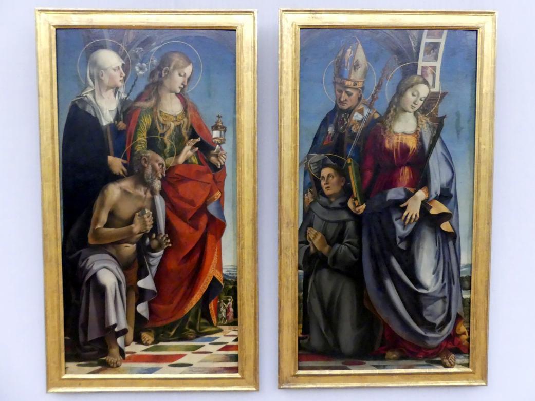 Luca Signorelli: Zwei Seitentafeln des Altarwerks der Bichi-Kapelle in S. Agostino in Siena, 1491