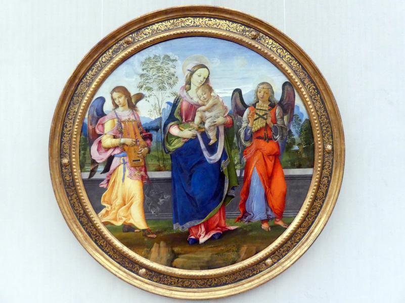 Raffaellino del Garbo: Maria mit dem Kind und zwei musizierenden Engeln, um 1496 - 1498