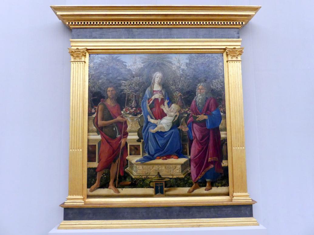 Sandro Botticelli: Thronende Maria mit dem Kind und den beiden Johannes, 1484 - 1485