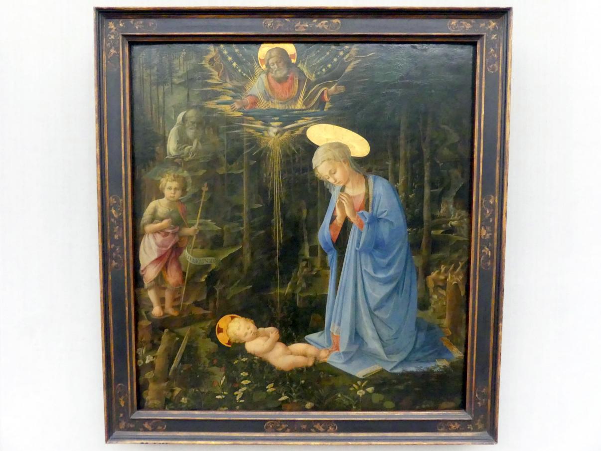 Fra Filippo Lippi: Maria, das Kind verehrend mit dem Johannesknaben und dem hl. Romuald (Die Anbetung im Walde), um 1459