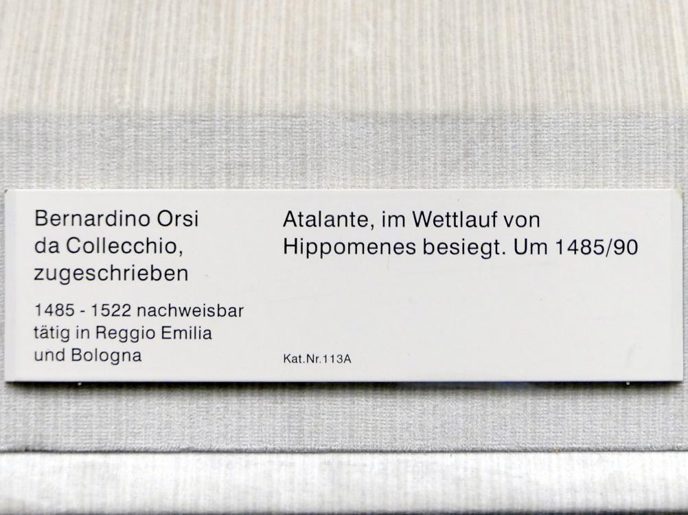 Bernardino Orsi da Collecchio: Atlante, im Wettlauf von Hippomenes besiegt, um 1485 - 1490, Bild 2/2
