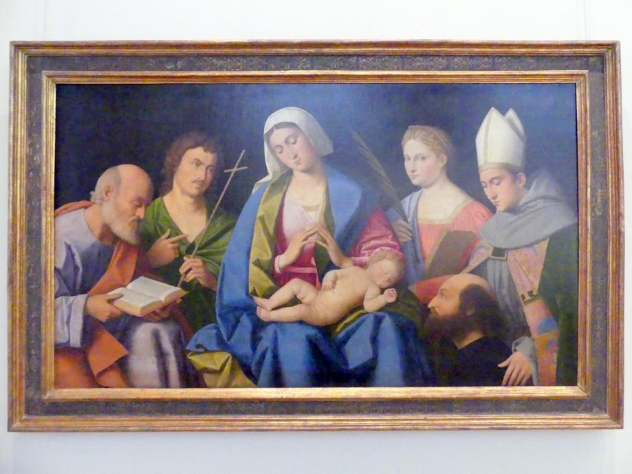 Vincenzo Catena: Maria, das Kind verehrend, mit den hll. Joseph, Johannes d.T., Katharina von Alexandrien, Ludwig von Toulouse und dem Stifter Lodovico Ariosto (1474-1533), um 1512
