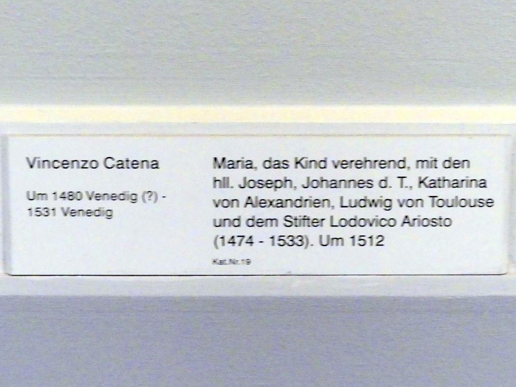 Vincenzo Catena: Maria, das Kind verehrend, mit den hll. Joseph, Johannes d.T., Katharina von Alexandrien, Ludwig von Toulouse und dem Stifter Lodovico Ariosto (1474-1533), um 1512, Bild 2/2