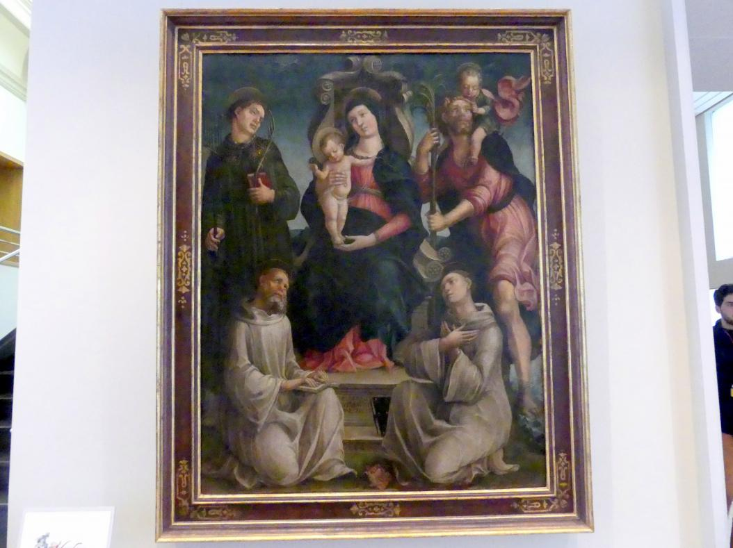 Liberale da Verona: Thronende Maria mit dem Kind und den hll. Benedikt, Laurentius, Bernhard von Clairvaux und Christophorus, 1489