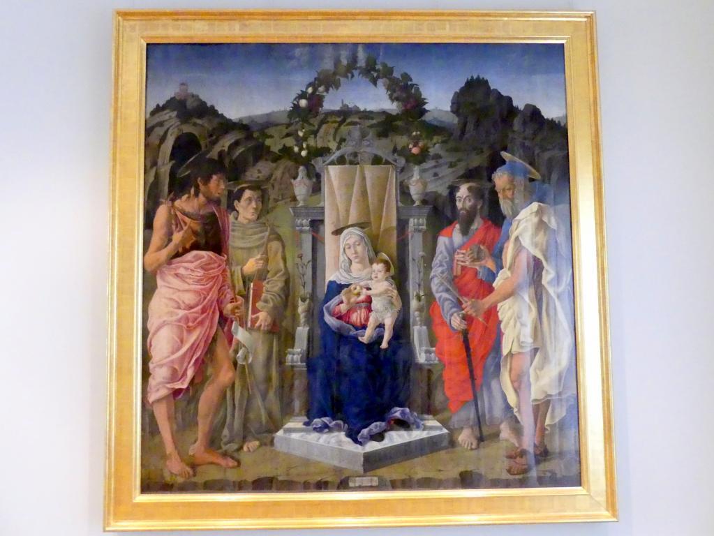 Marco Zoppo: Thronende Maria mit dem Kind sowie den hll. Johannes d.T., Franziskus von Assisi, Paulus und Hieronymus, 1471