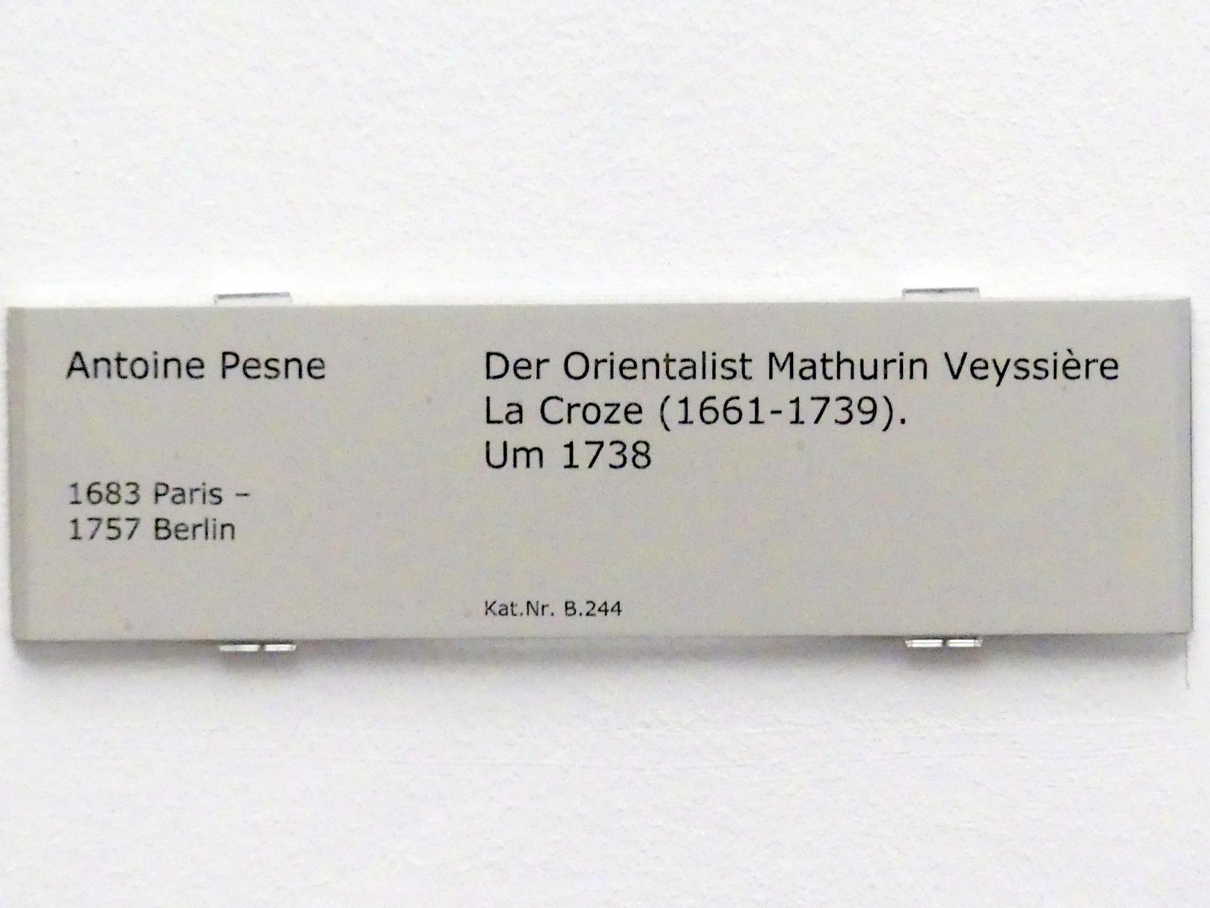 Antoine Pesne: Der Orientalist Mathurin Veyssière La Croze (1661-1739), Um 1738