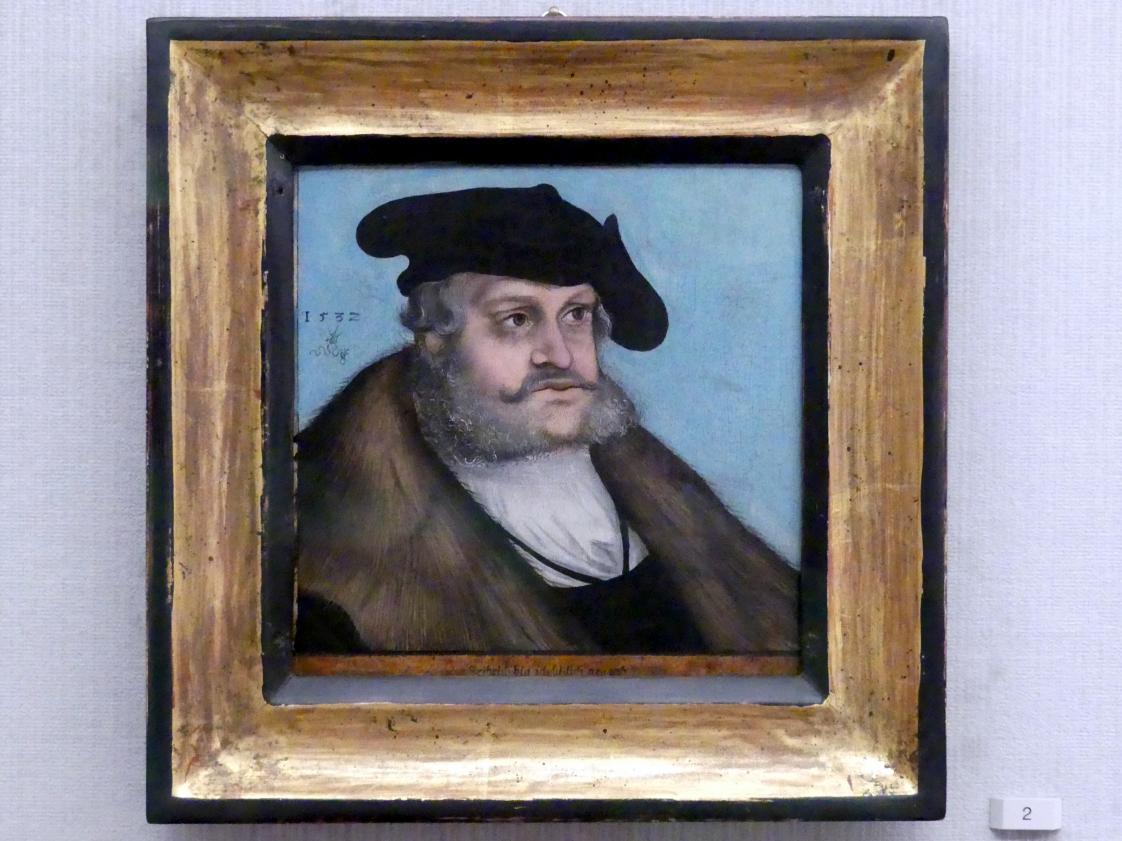 Lucas Cranach der Ältere (Werkstatt): Friedrich III. der Weise, Kurfürst von Sachen (1463-1525), 1532