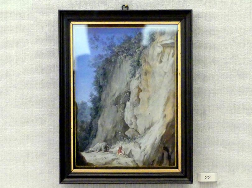 Joseph Werner der Jüngere: Felsenlandschaft mit einem Mann und Löwen (Daniel in der Löwengrube), Undatiert
