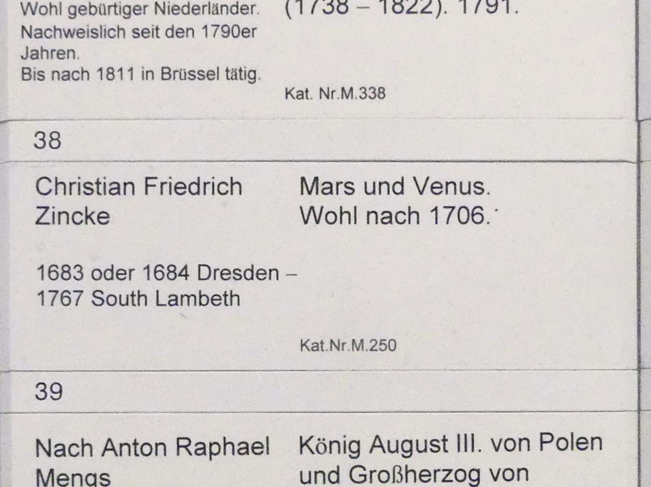 Christian Friedrich Zincke: Mars und Venus, Nach 1706