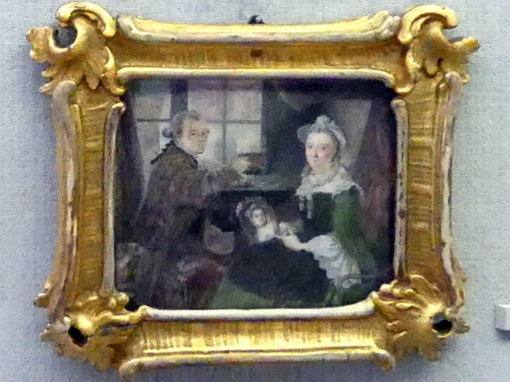 Daniel Nikolaus Chodowiecki: Selbstbildnis beim Zeichnen, ihm gegenüber seine Frau, um 1759