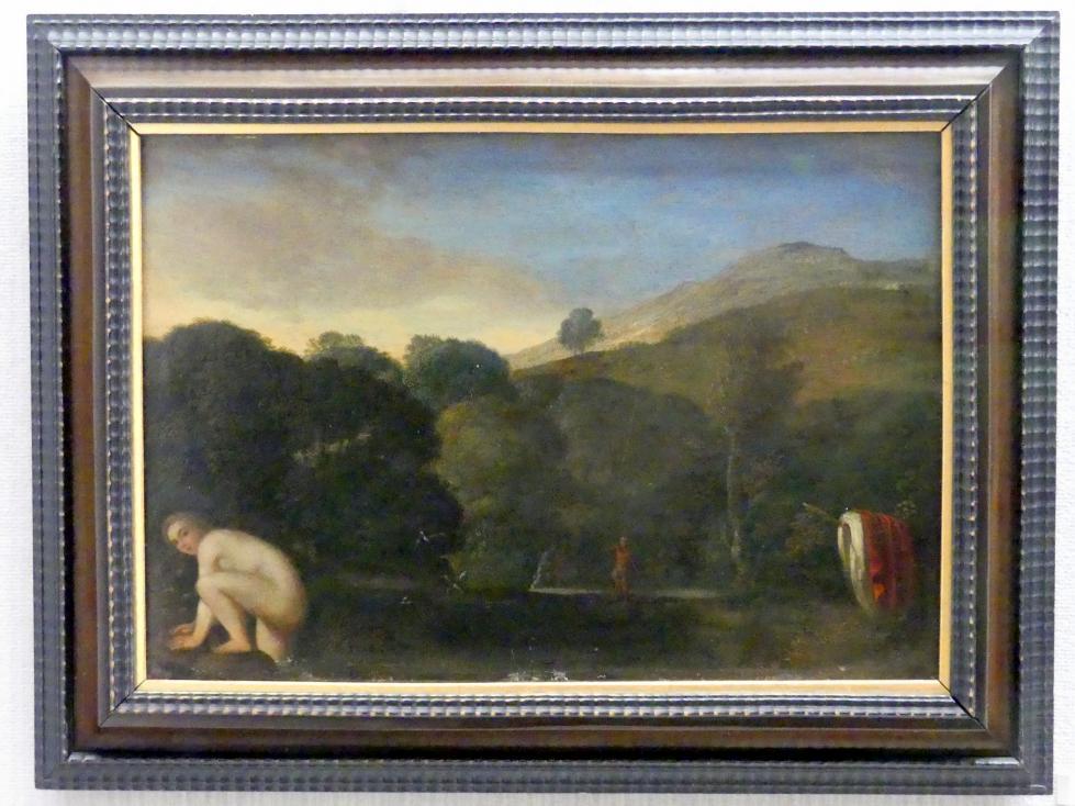 Adam Elsheimer: Landschaft mit badender Nymphe, um 1605
