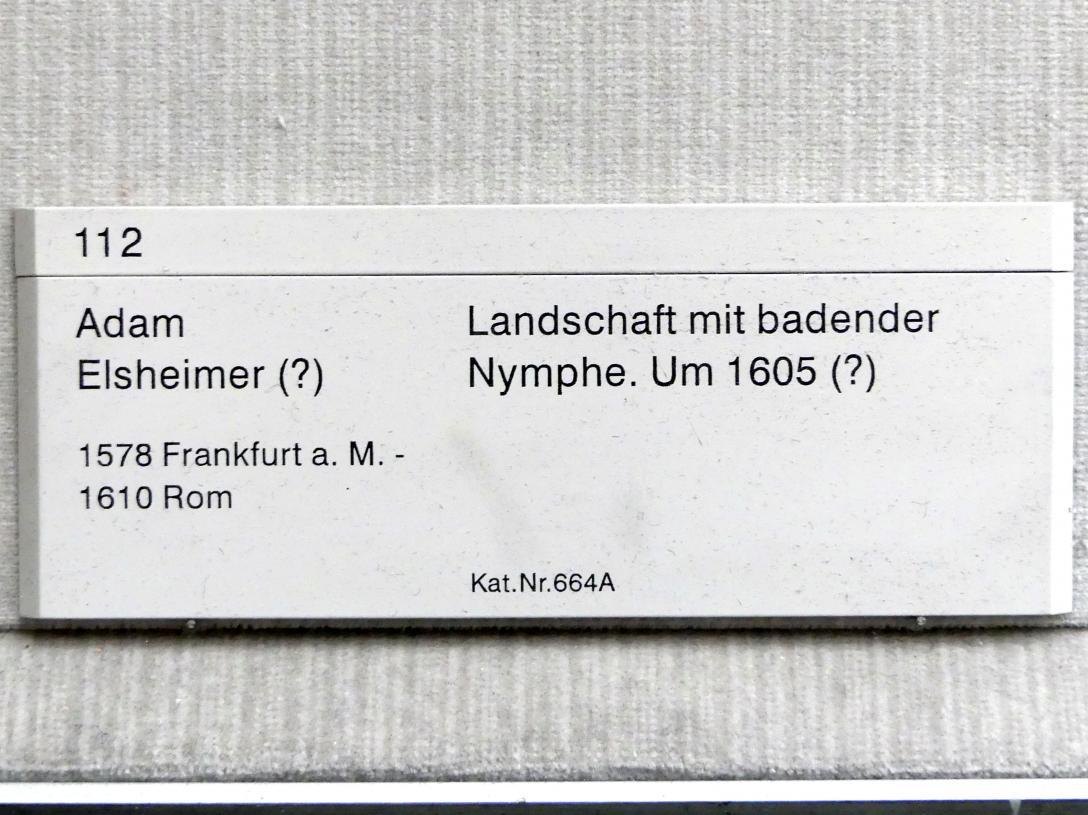 Adam Elsheimer: Landschaft mit badender Nymphe, um 1605, Bild 2/2