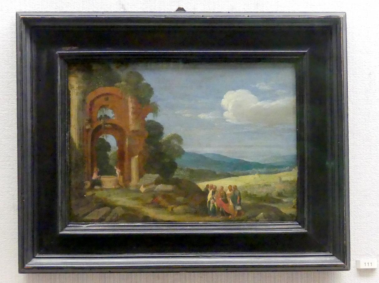 Johann König: Landschaft mit Christus, der Samariterin und den Jüngern, 1620