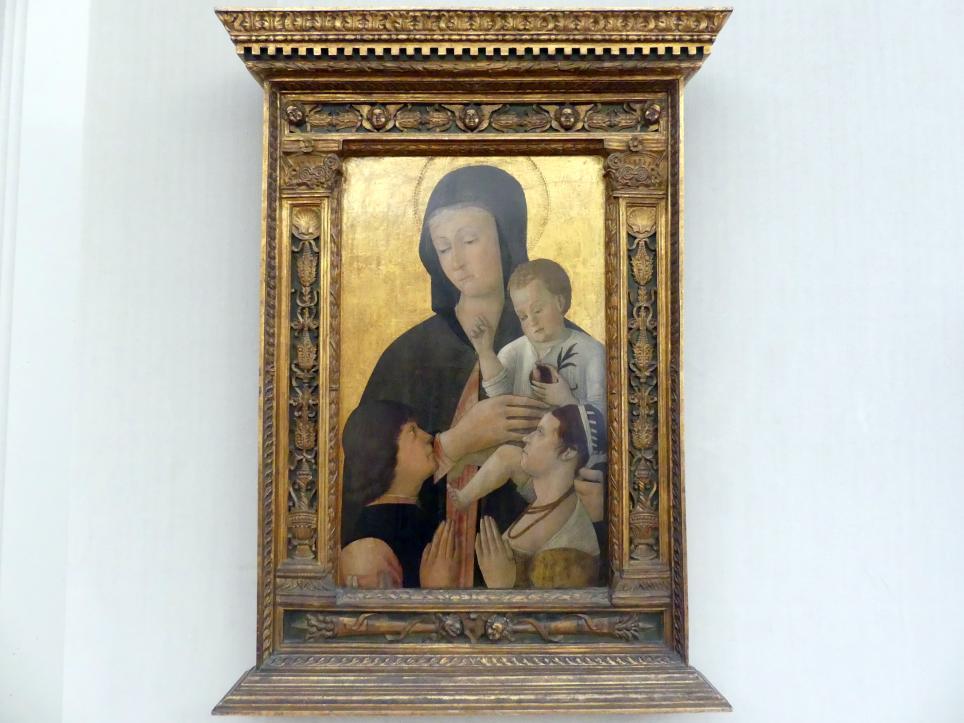 Gentile Bellini: Maria mit dem Kind und einem Stifterpaar, um 1460