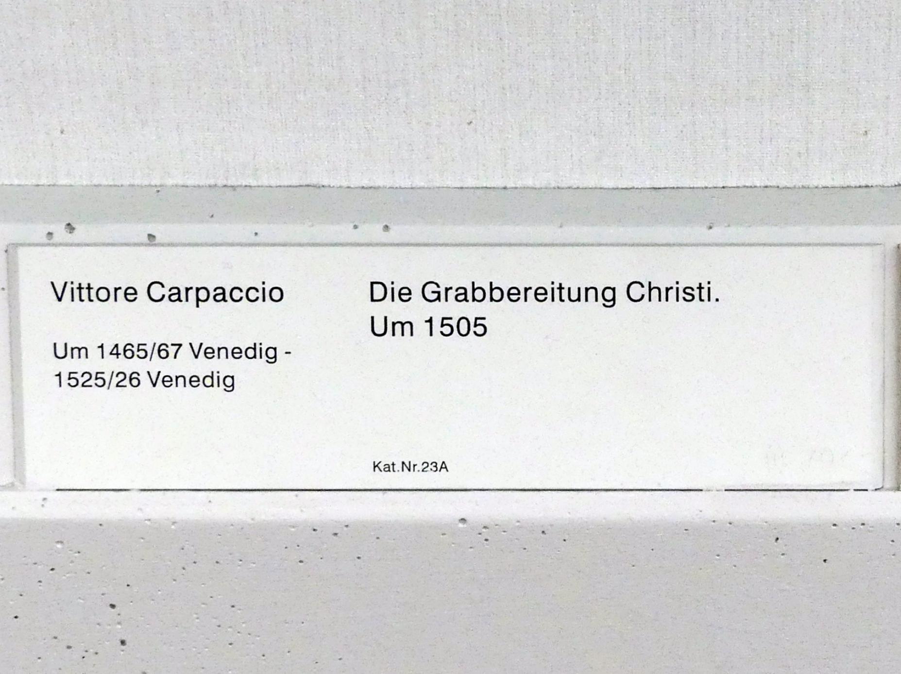 Vittore Carpaccio: Die Grabbereitung Christi, um 1505, Bild 2/2