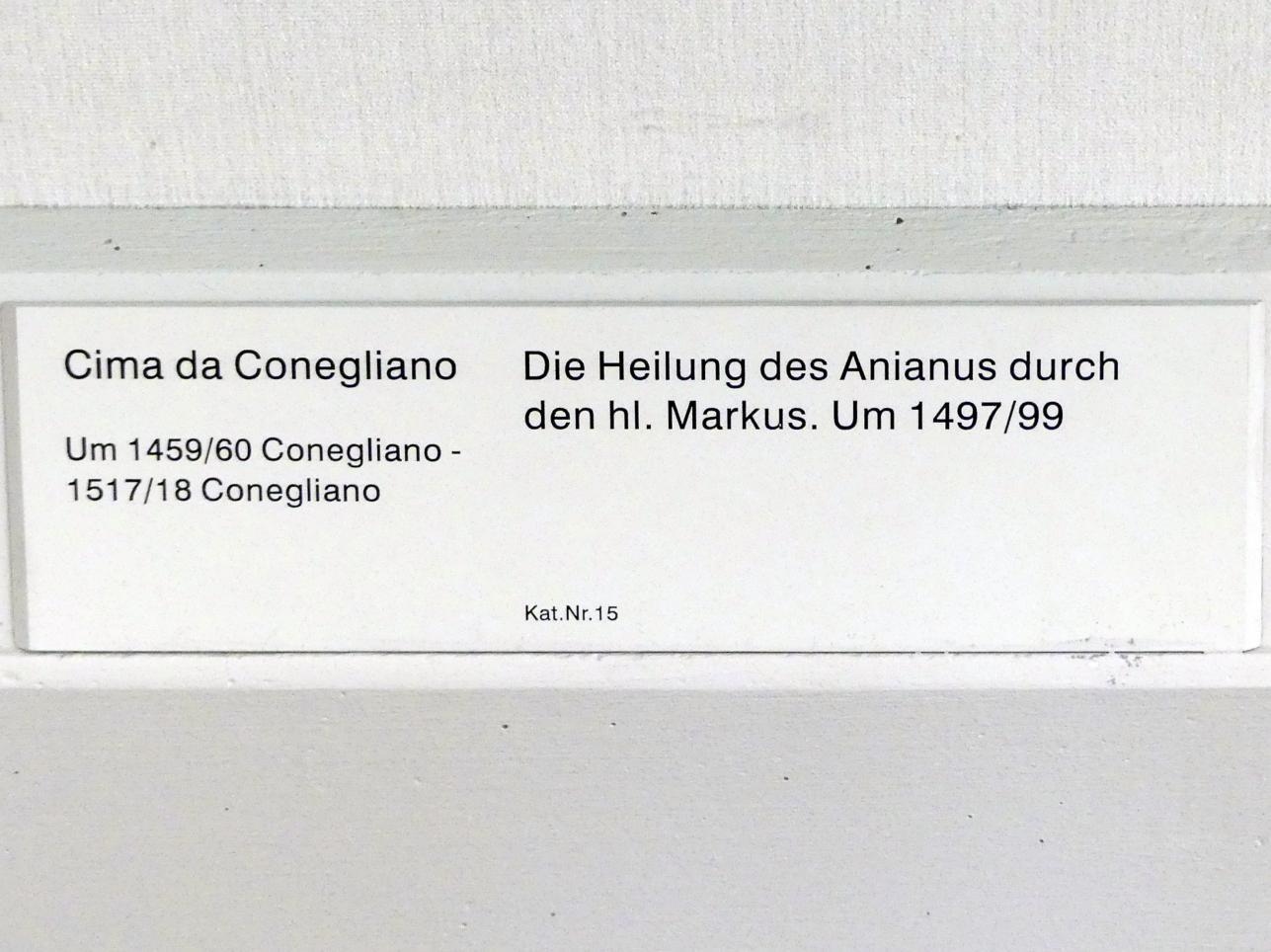 Giovanni Battista Cima (Cima da Conegliano): Die Heilung des Anianus durch den hl. Markus, Um 1497 - 1499
