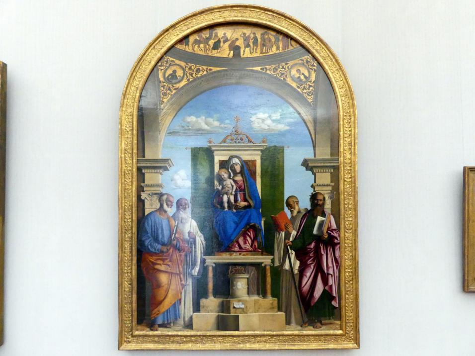 Giovanni Battista Cima (Cima da Conegliano): Thronende Maria mit dem Kind und den hll. Petrus, Romualdus, Benedikt und Paulus, um 1495 - 1497