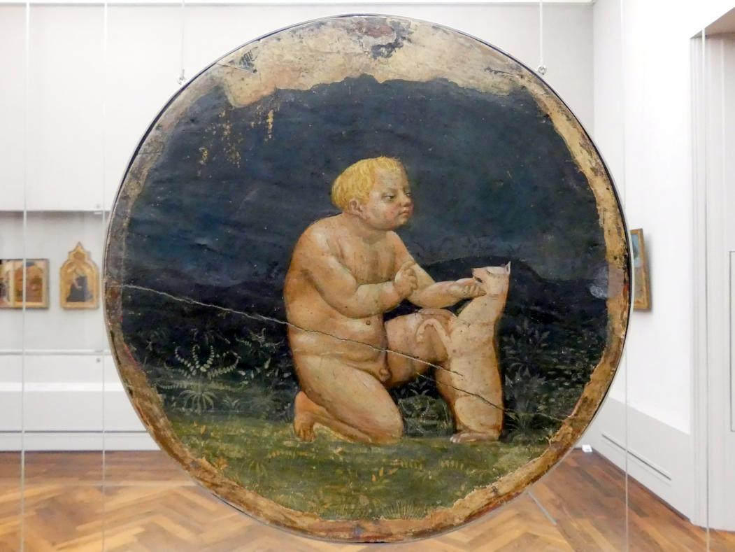 Masaccio: Ein nackter Knabe, der mit einem Hund spielt, Undatiert