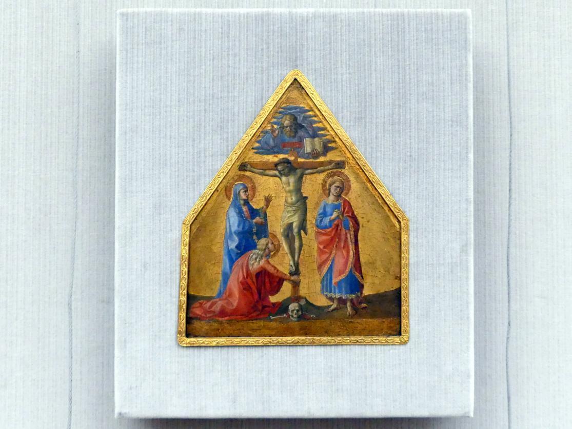 Francesco Pesellino: Christus am Kreuz, sowie die hll. Johannes, Maria und Maria Magdalena, um 1455